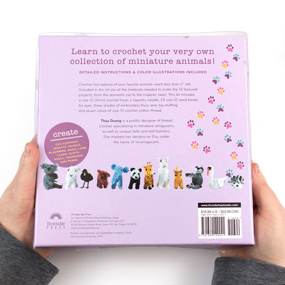 The back of the crochet mini animals kit