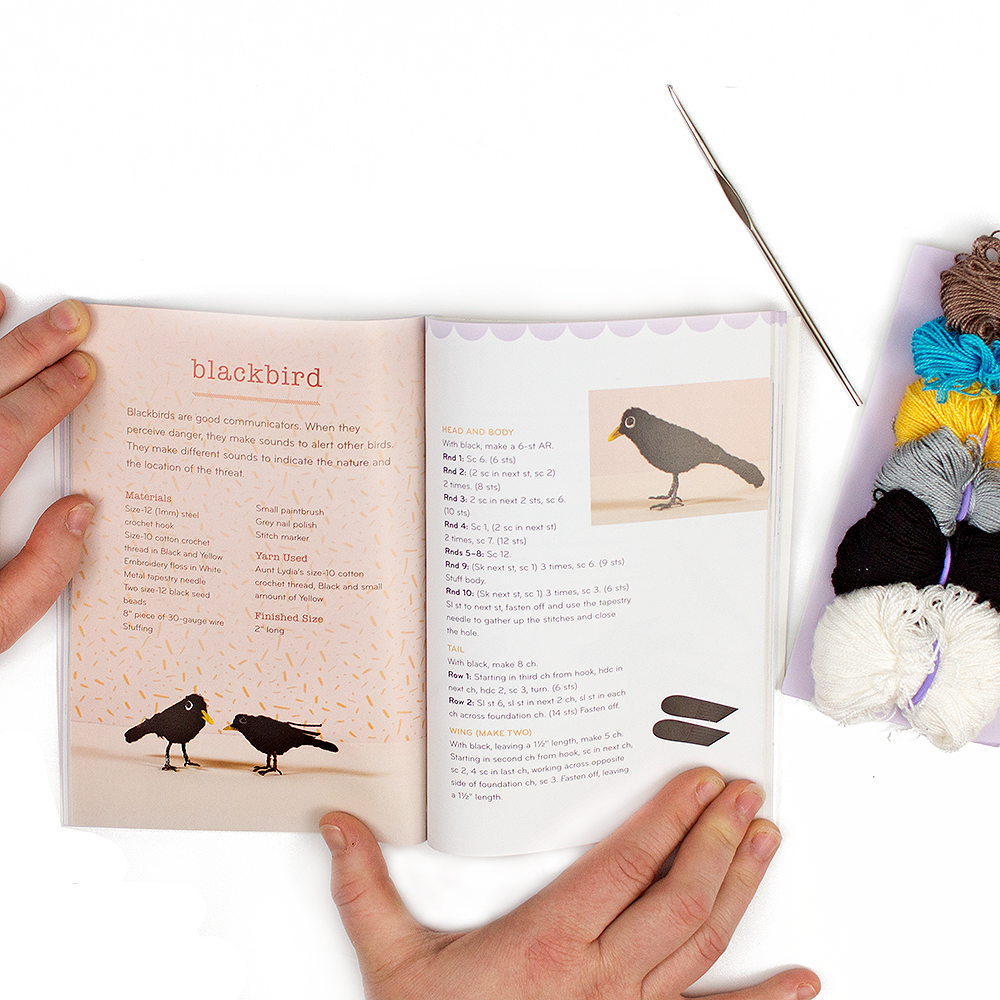 Inside pages of the pattern book included in the crochet mini animals kit next to the materials included in the kit.