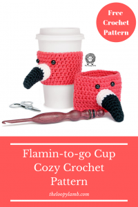 Two Flamingo Cup Cozies on a white background with text overlay