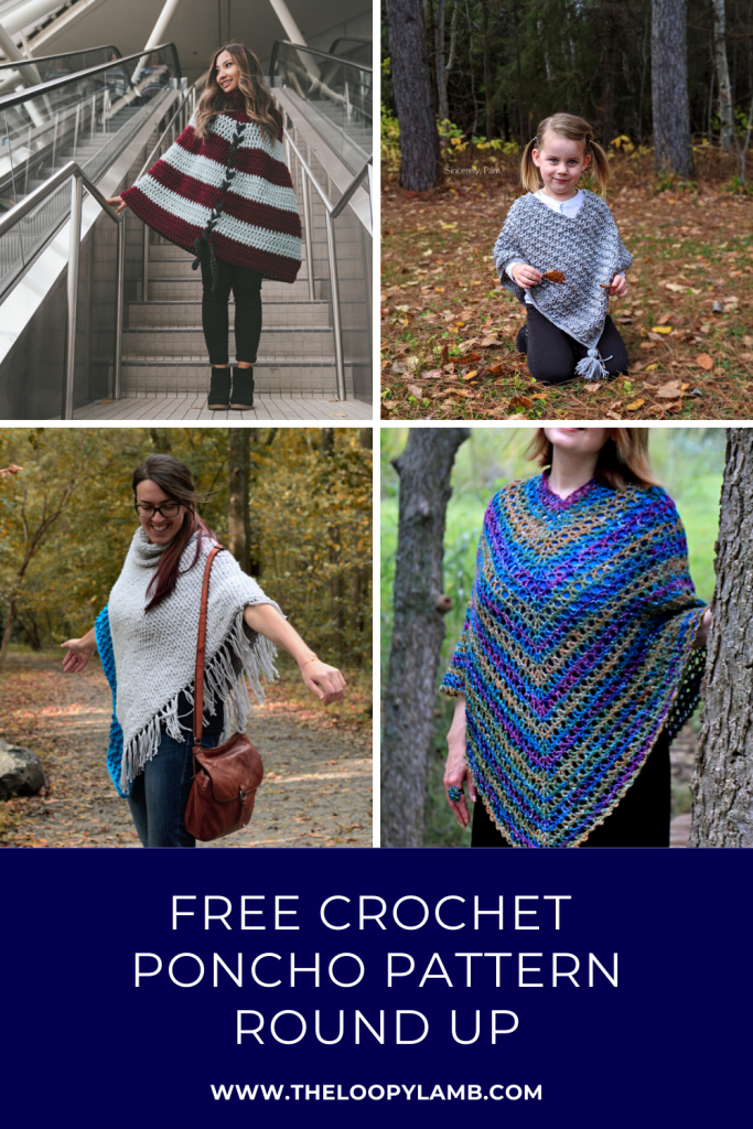Collage of crochet ponchos made with free crochet poncho patterns with a text overlay