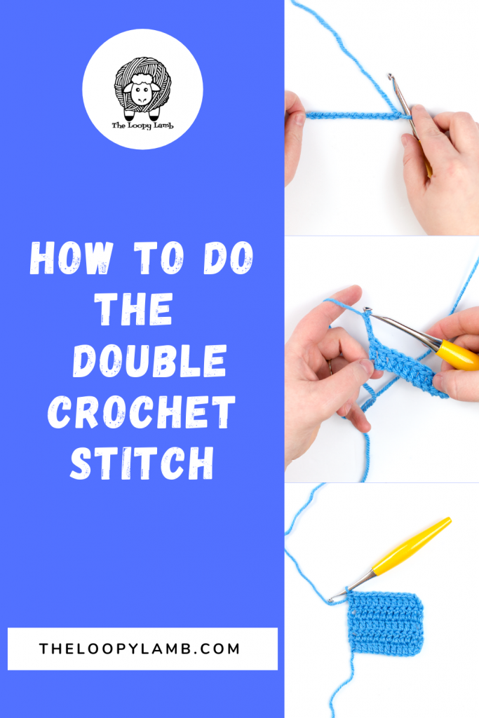 How to double crochet tutorial images with a text overlay.