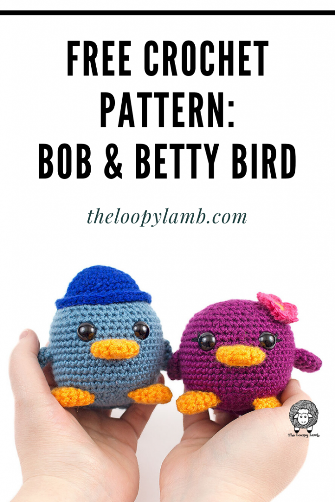 Two Amigurumi Birds made with this free crochet bird pattern