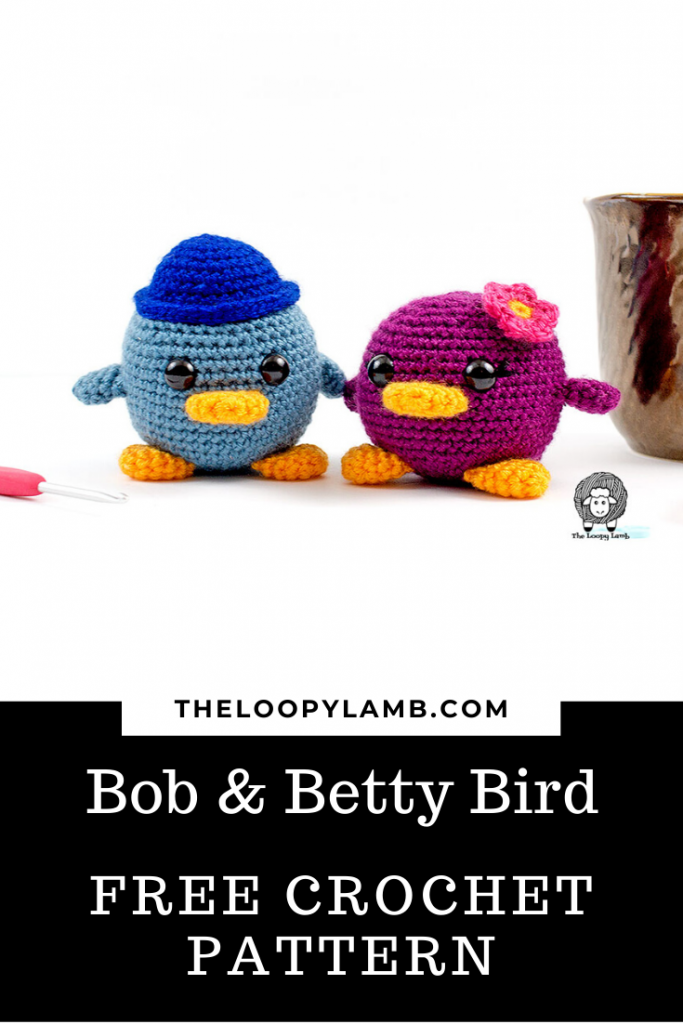 Two chubby crochet birds, one wearing a hat and one with a flower on her head.