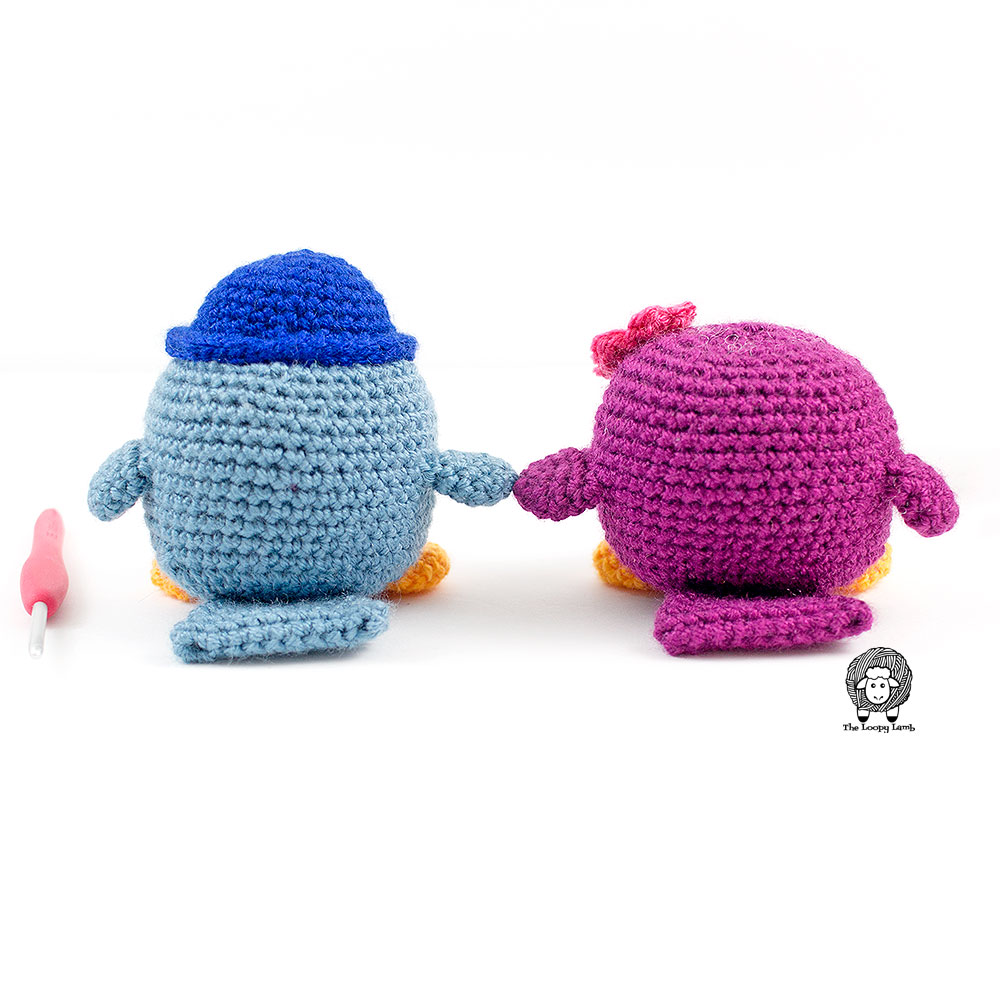 Back view of the birds made with this free crochet bird pattern