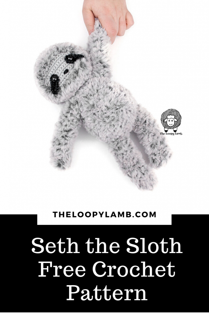 Picture of Crochet sloth made with faux fur yarn with a text overlay