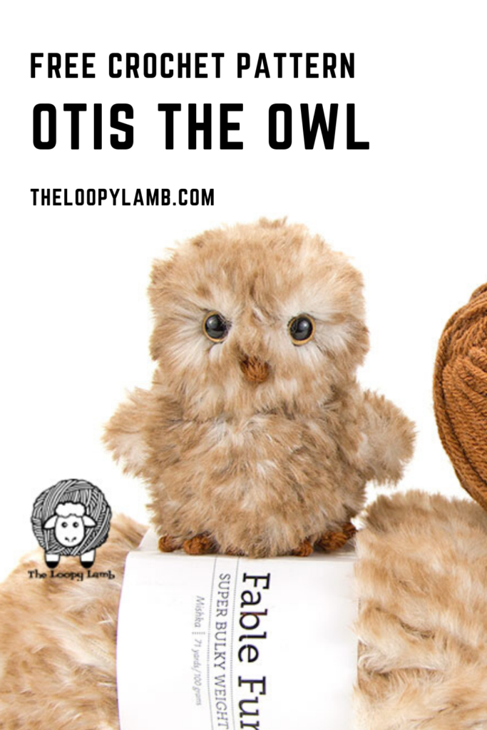 Close up image of Crochet owl made with faux fur yarn and this free crochet pattern.