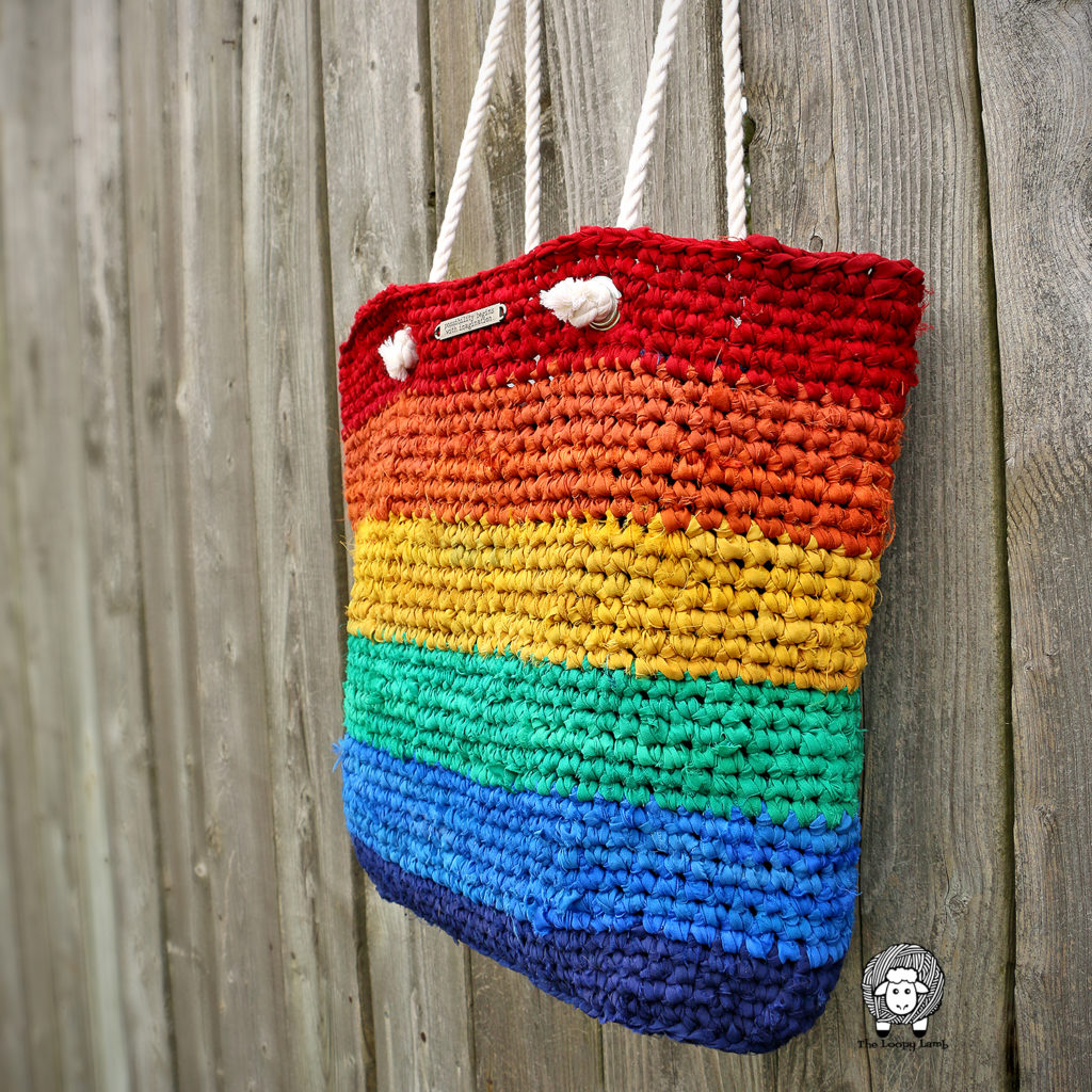 Close up view of the rainbow crochet tote bag