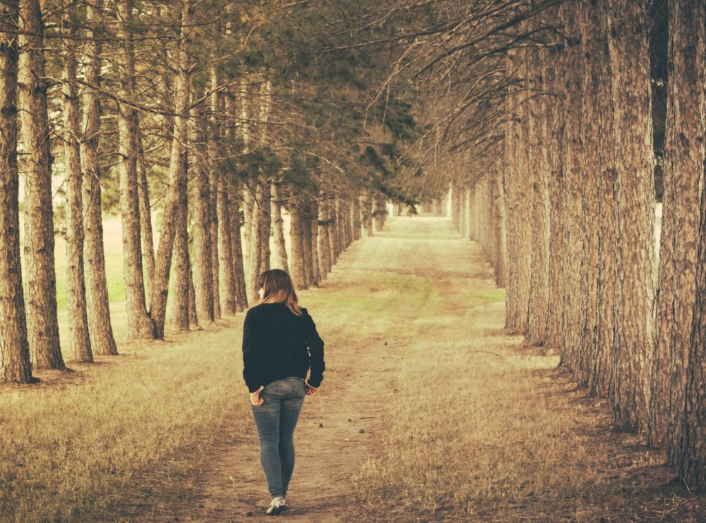 a person walking in the woods - talking walks is great for getting your crojo back