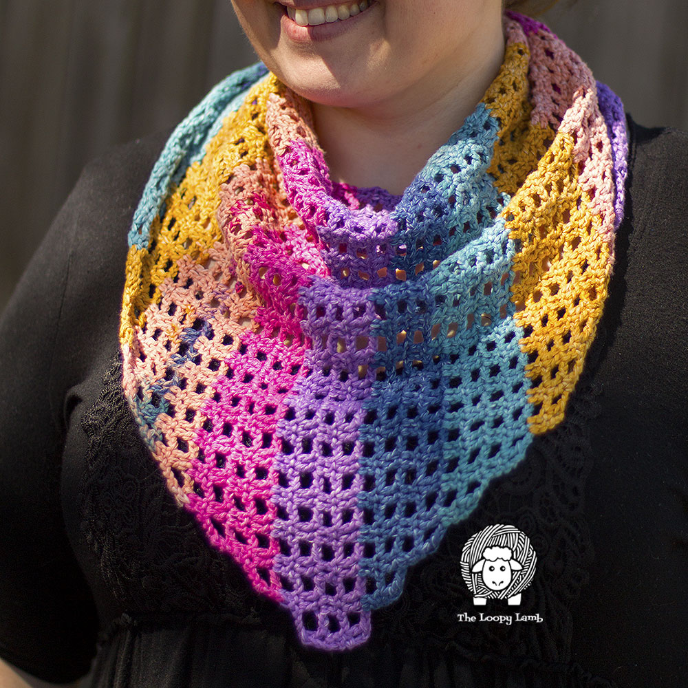 close up image of the crochet shawlette made with this free crochet pattern.