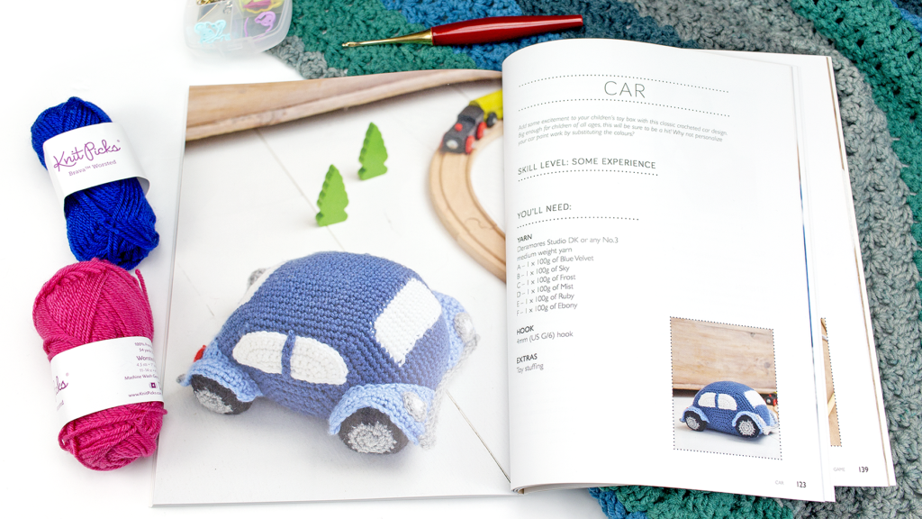 Inside page preview of car pattern inside Weekend Makes Crocheted Toys by Emma Osmond