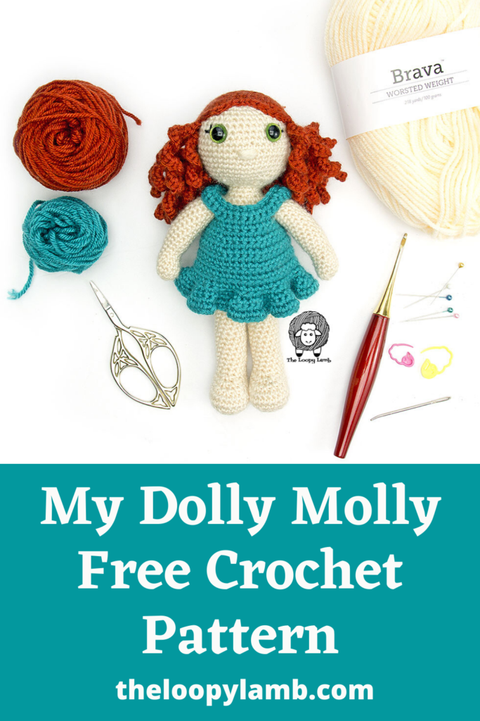 Crochet doll  next to come crochet accessories and a text overlay indicating a crochet doll free crochet pattern.