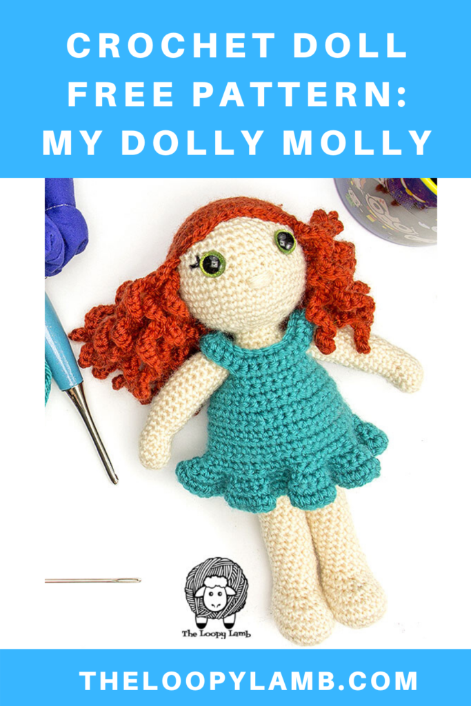 Crochet doll with clothes next to come crochet accessories and a text overlay indicating a free crochet pattern.