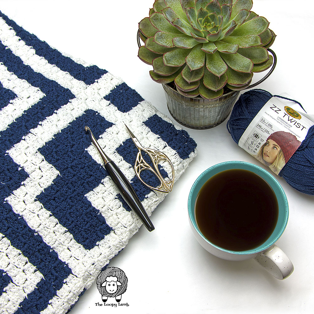 close up image of the texture on this Free Crochet Pattern for a C2C Blanket