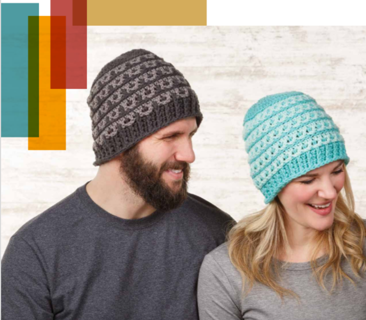 Textured Crochet Beanies worn by a male and female in brown and blue.