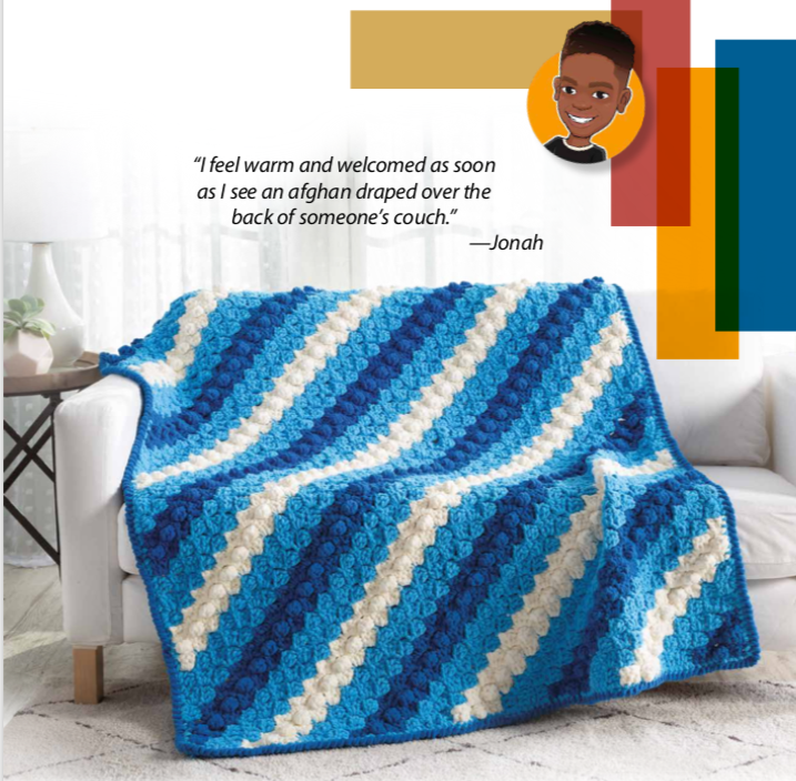 Blue and white corner to corner blanket pattern in Giving Back Crochet by Jonah Larson