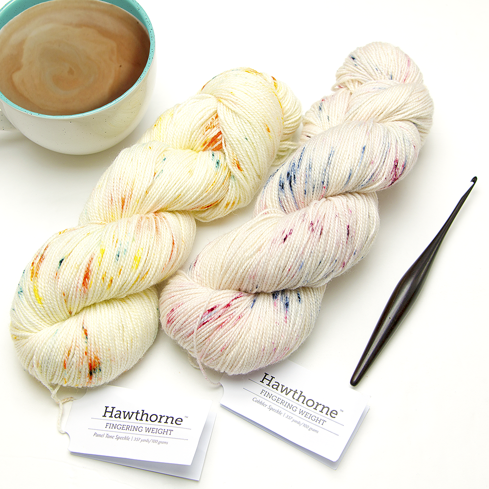 We Crochet Hawthorne Fingering Weight Hand Speckle Yarns in Cobbler Speckle and Pantone Speckle