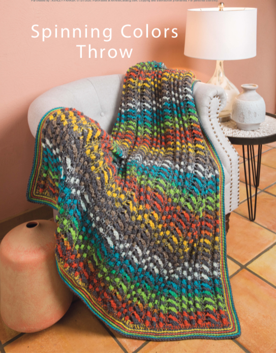 Image of the crochet spinning colours throw featured in the crochet book being reviewed