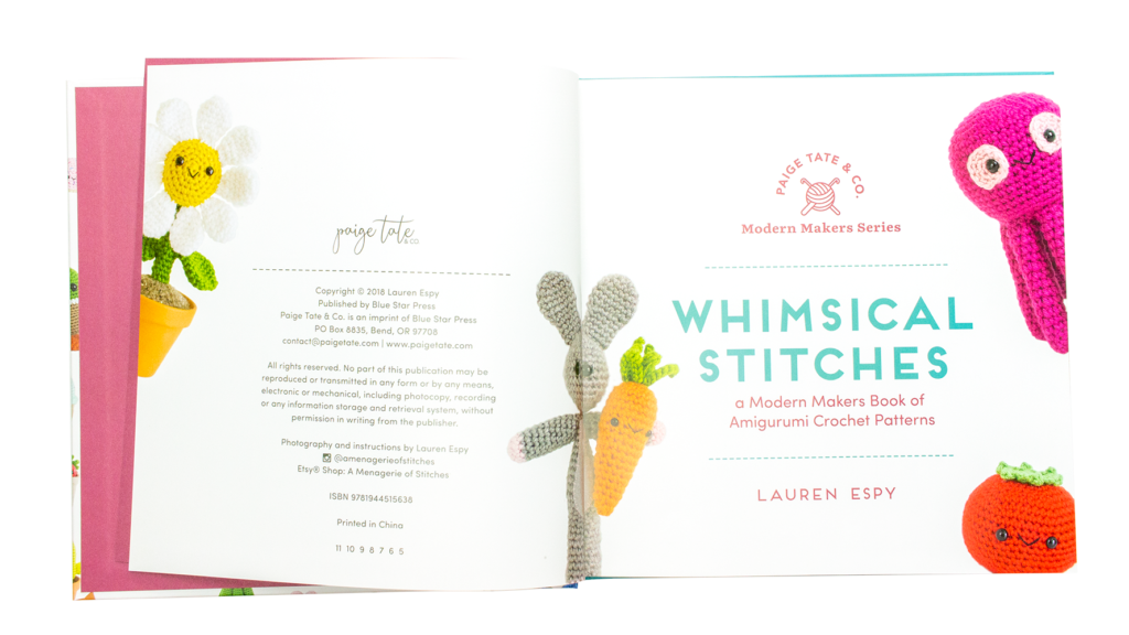 Inside cover of the amigurumi book by Lauren Espy.