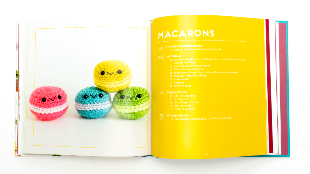 Picture of the crochet macarons pattern inside the Whimsical Stitches book