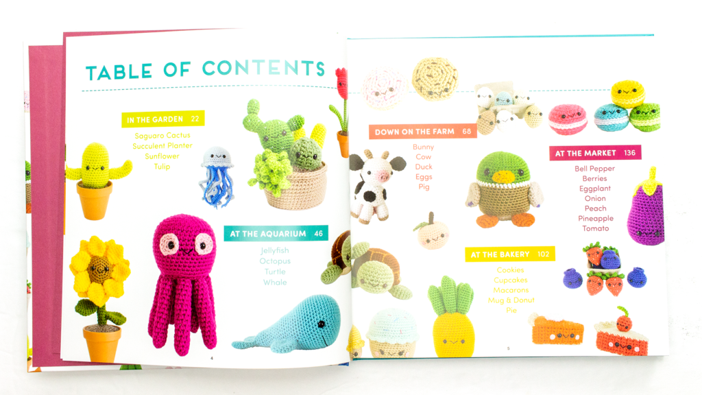 The table of contents in the Whimsical Stitches book.