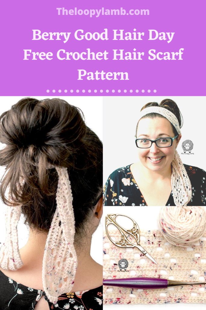 Collage of images showing the free crochet hair scarf made using this pattern