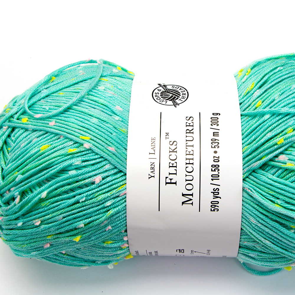 Close up image of a ball of Flecks yarn from Loops & Threads