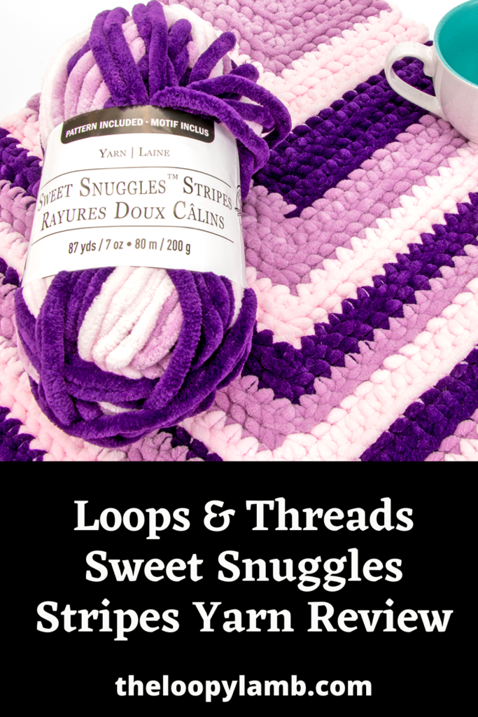 Close up image of a ball of Loops & Threads Sweet Snuggles Stripes Yarn