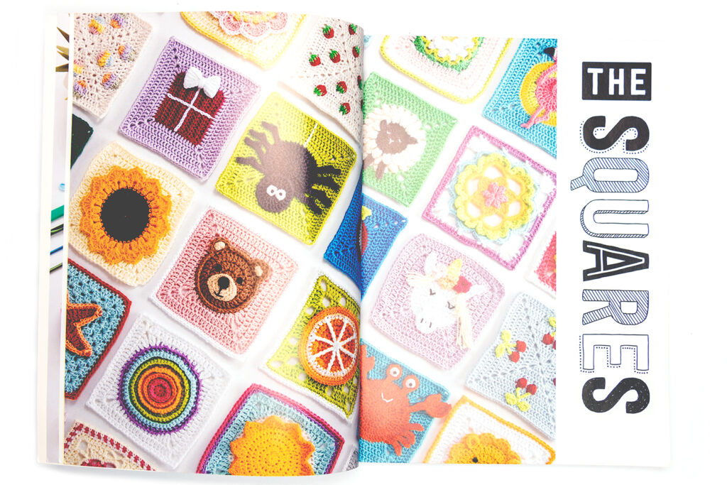 collage image of 3D granny squares found in the book being reviewed.