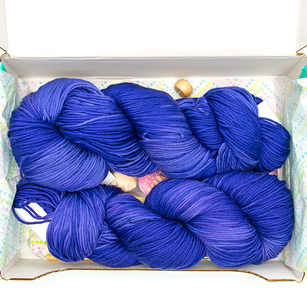 Purple yarn that came in the July 2020 Knitcrate