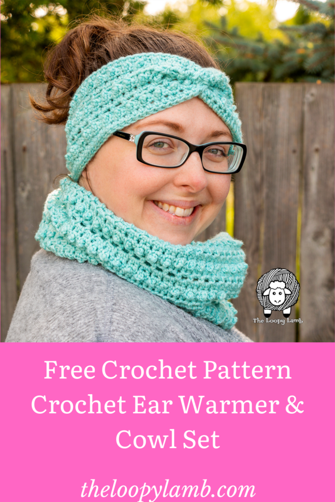 Smiling woman wearing the Picot Single Crochet Stitch Ear Warmer and Cowl Set