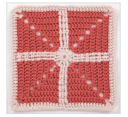 Crochet granny square from the book being reviewed.