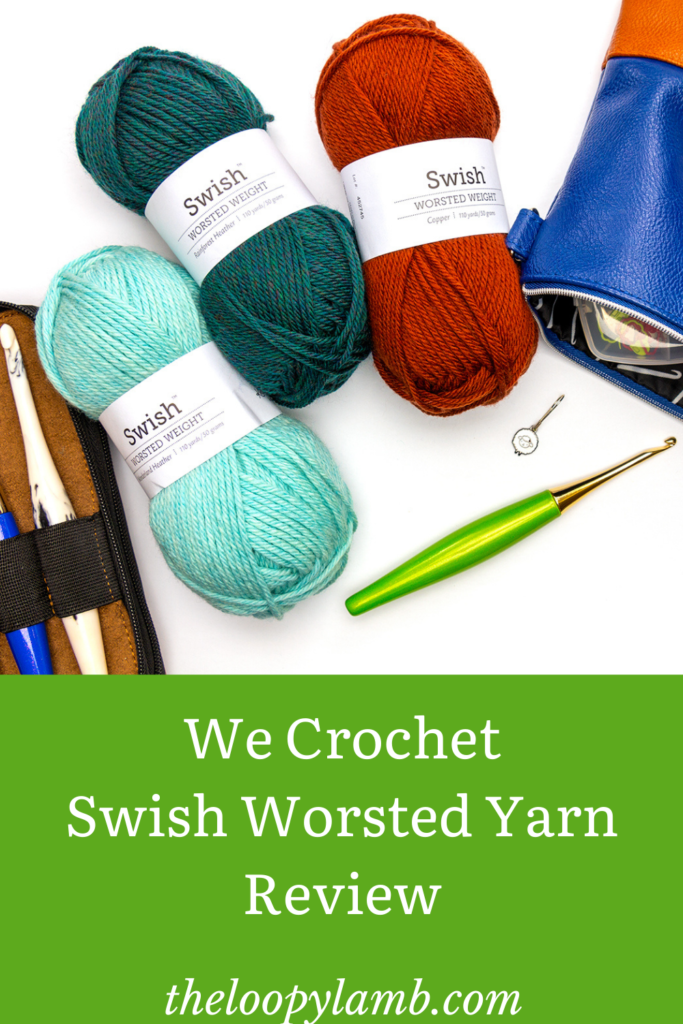 Swish Worsted Yarn from We Crochet in three different colours with a lime furls crochet hook.