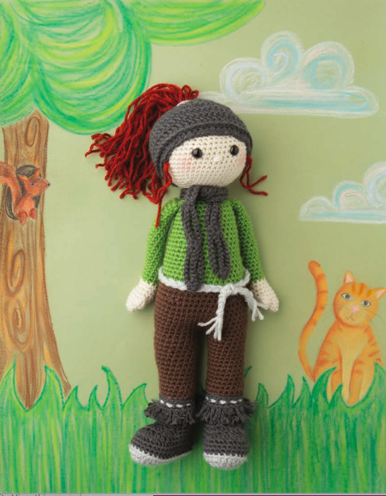 Crochet doll on a hand drawn background.