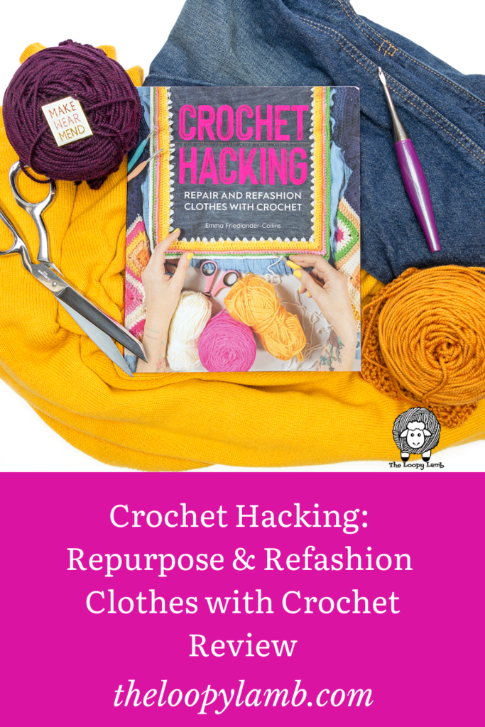Copy of Crochet Hacking by Emma Friedlander-Collins surrounded by fabric and crochet accessories.