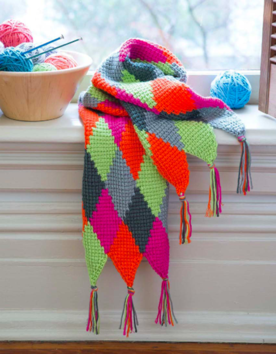 colourful harlequinn tunisian crochet scarf