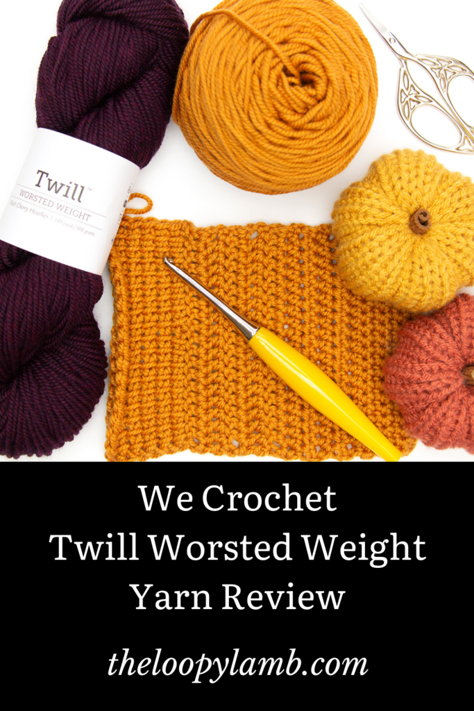 A crochet swatch made of Twill Worsted Weight Yarn, a hank of Twill Worsted Weight and crochet accessories in a flat lay