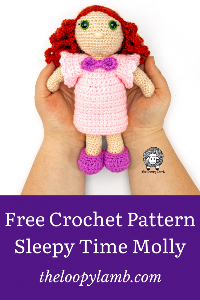 My Dolly Molly wearing amigurumi doll clothes made with this free crochet pattern.