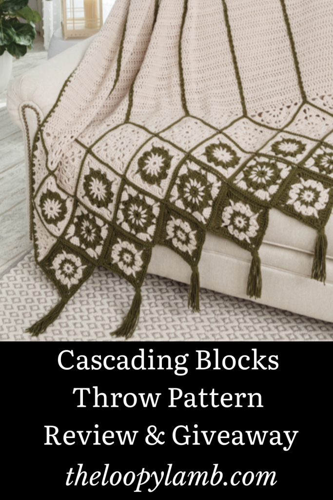 image of the Cascading Blocks Throw draped over a couch.