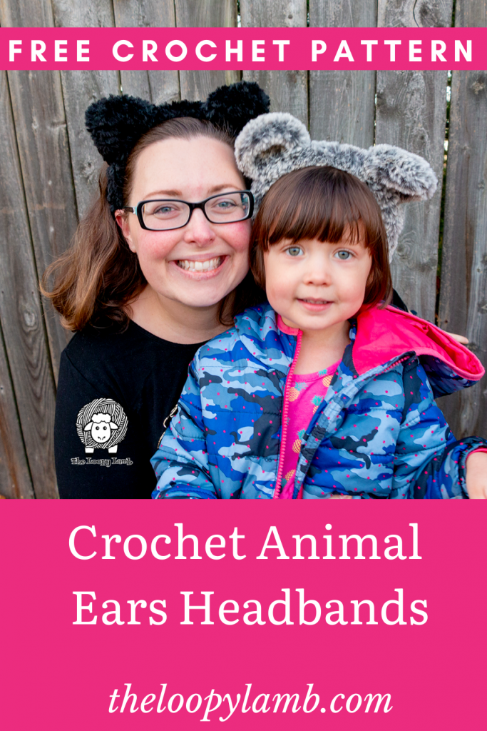 Mother and daughter smiling wearing crochet animal ears headbands