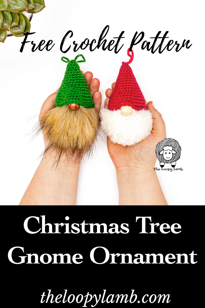 Two crochet gnome christmas tree ornaments being held in hands.