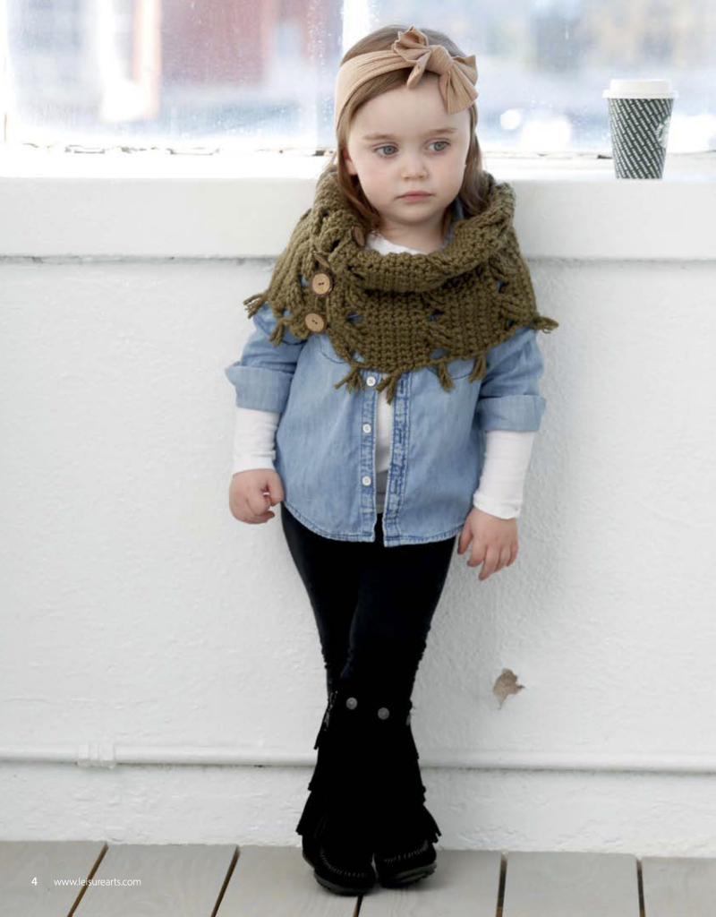 Crochet cowl being worn by a toddler