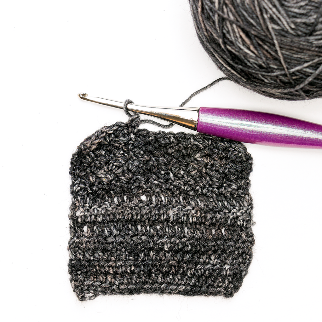 Black Yarn in a crochet swatch