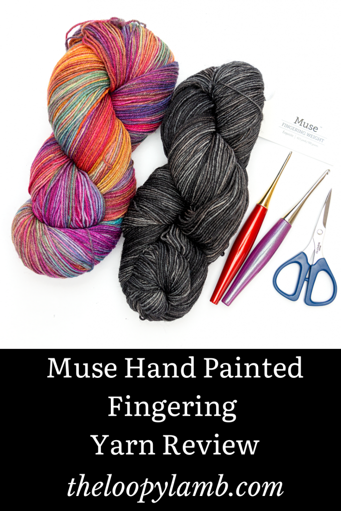 Two hanks of Muse Hand Painted Fingering Yarn in a flat lay with Furls Crochet Hooks