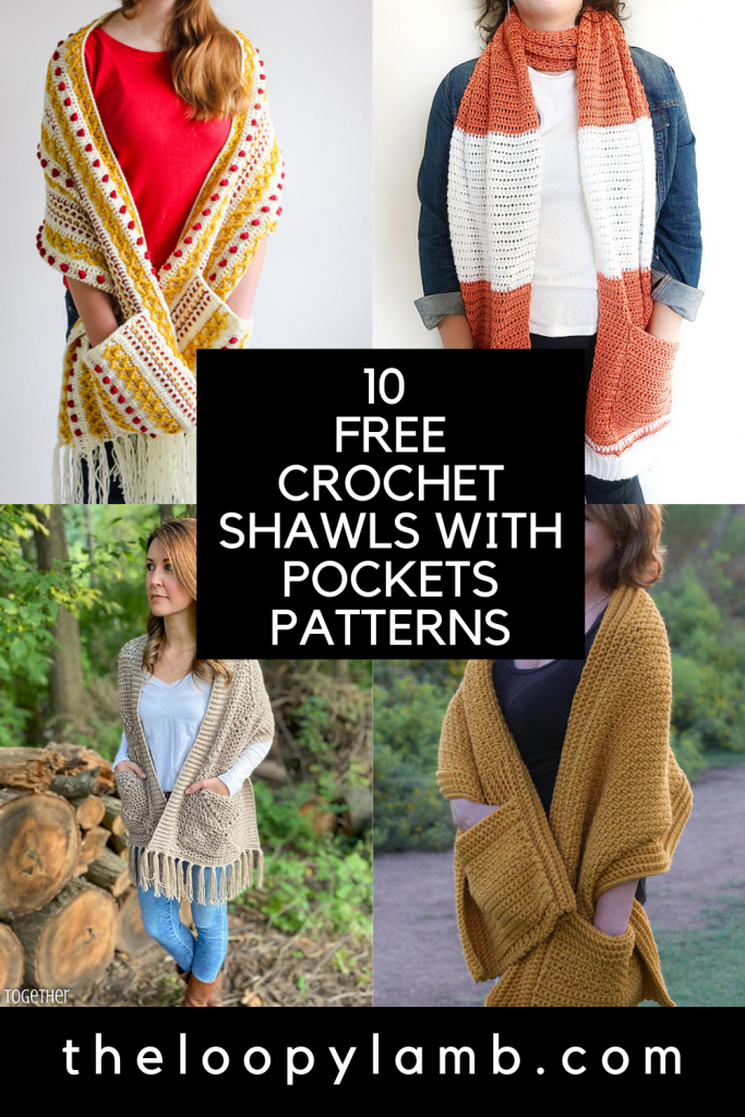 Collage of free crochet shawl with pockets pattern images