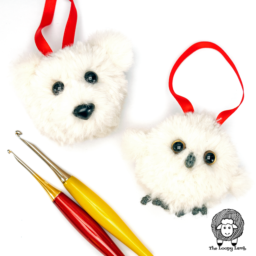 Polar Bear and snowy owl Free Crochet Christmas Ornament Pattern samples in a flat lay