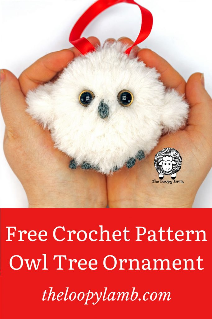 Crochet Owl made with faux fur held in cupped hands, made with this crochet owl ornament free pattern