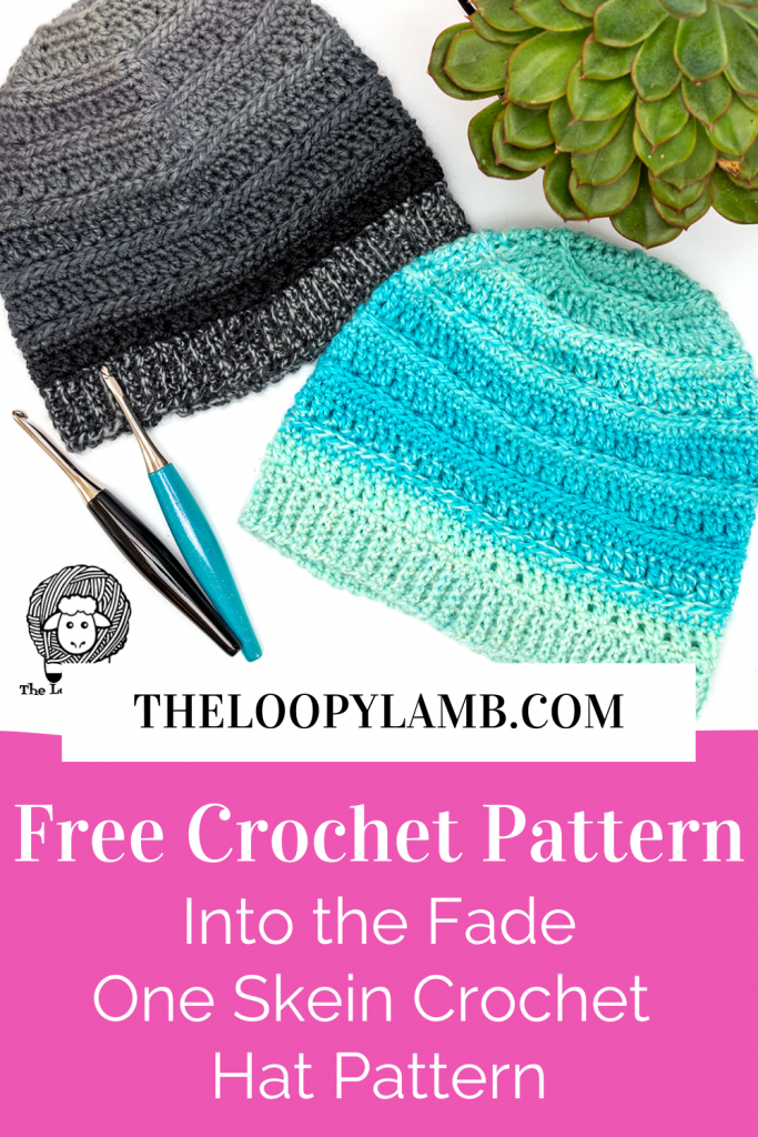 Two hats in a flat lay that were made with this free one skein crochet hat pattern