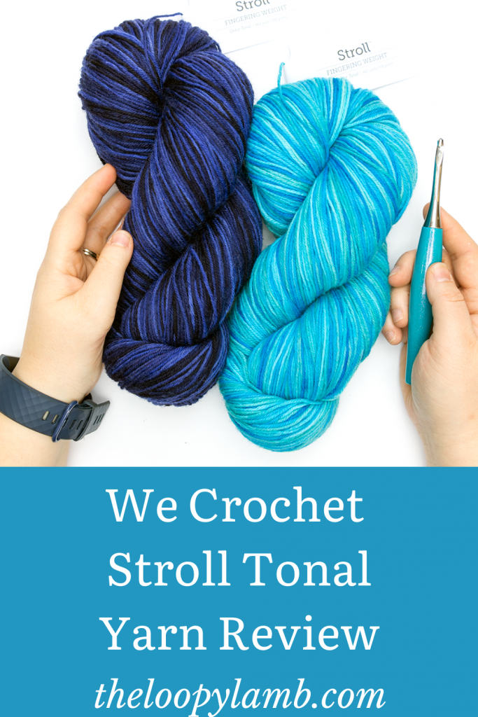 Two blue hanks of We Crochet Stroll Tonal Yarn being held in hands