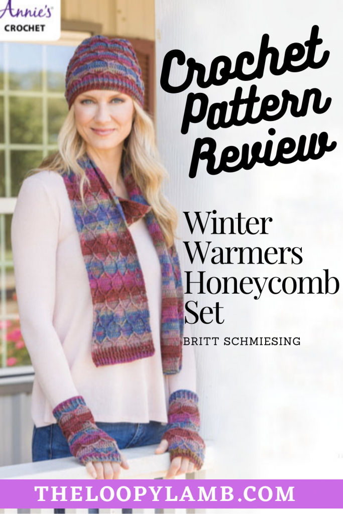 Woman modelling the Winter Warmers Honeycomb Set being reviewed