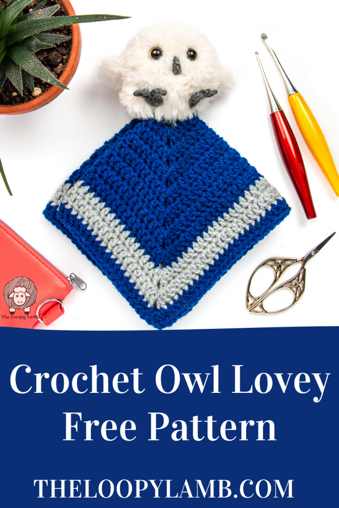 Crochet lovey made with this crochet owl lovey free pattern in a flat lay